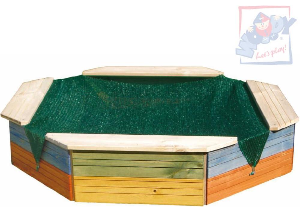 WOODY DŘEVO Pískoviště s ochrannou plachtou barevné 130x130x26cm