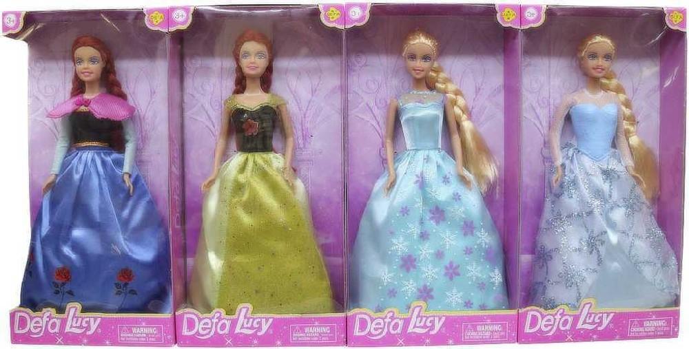 Panenka Defa Lucy dlouhé zdobené šaty 4 druhy v krabičce