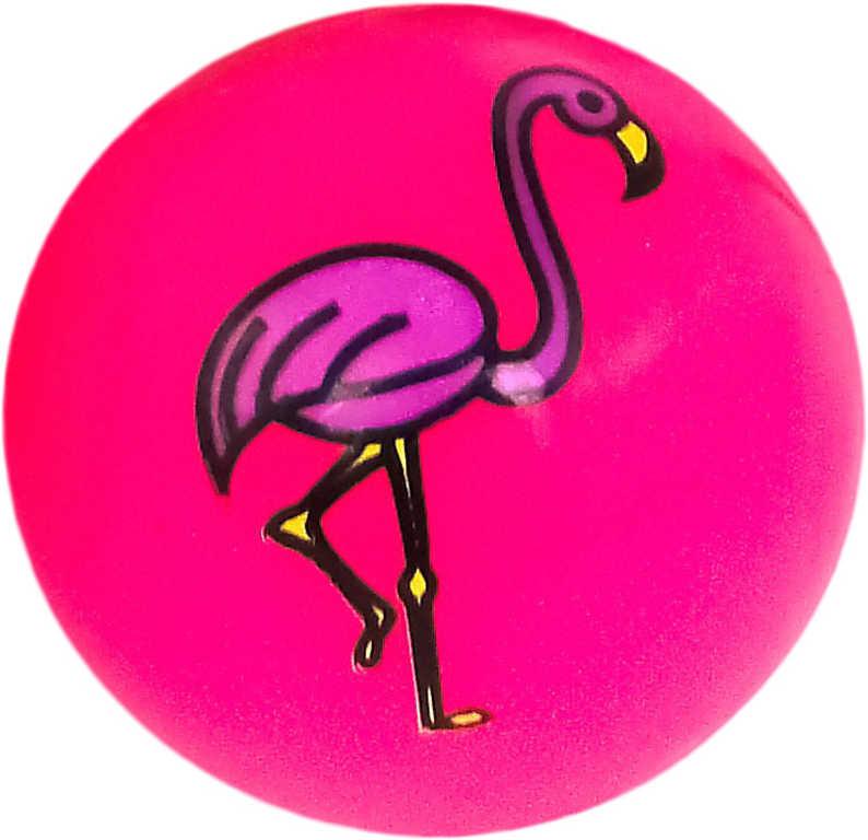 Míček svítící plameňák 5,5cm cm balonek na baterie různé barvy Světlo