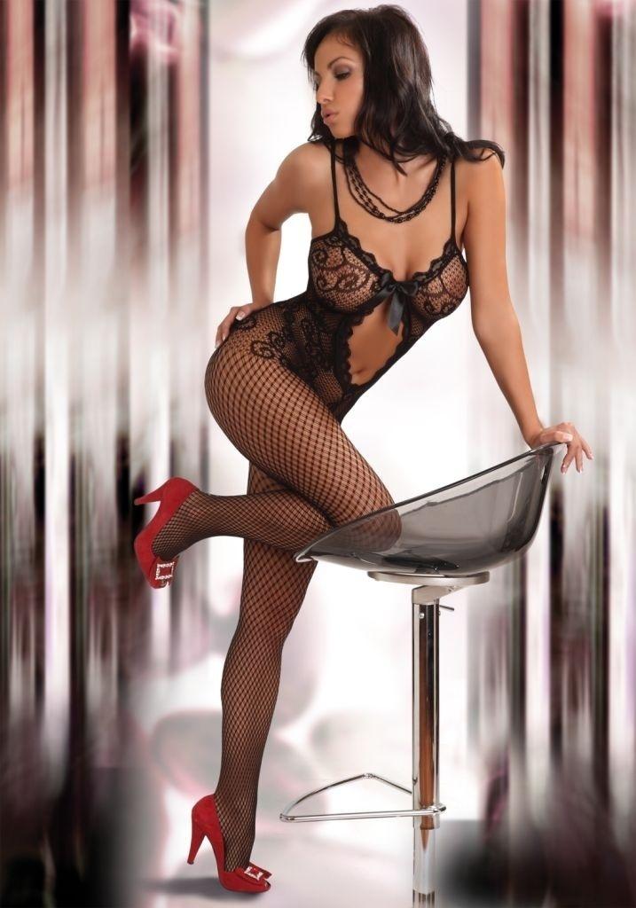 Luxusní body Magali v černé barvě-XL/XXL