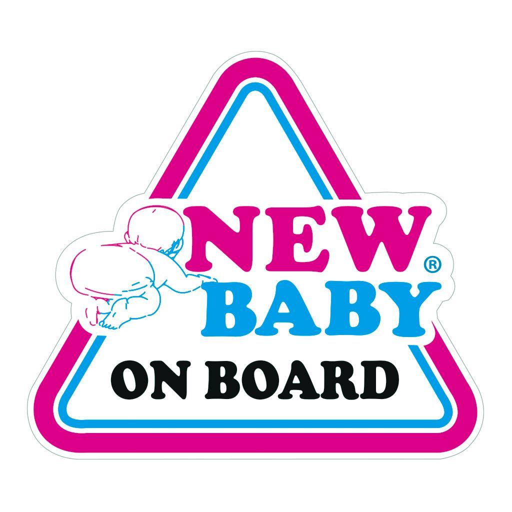 Samolepka na auto NEW BABY ON BOARD New Baby - bílá