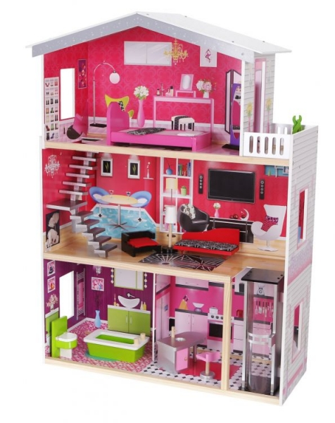 dreveny-domek-pro-panenky-s-vytahem-eco-toys-rezidence-malibu