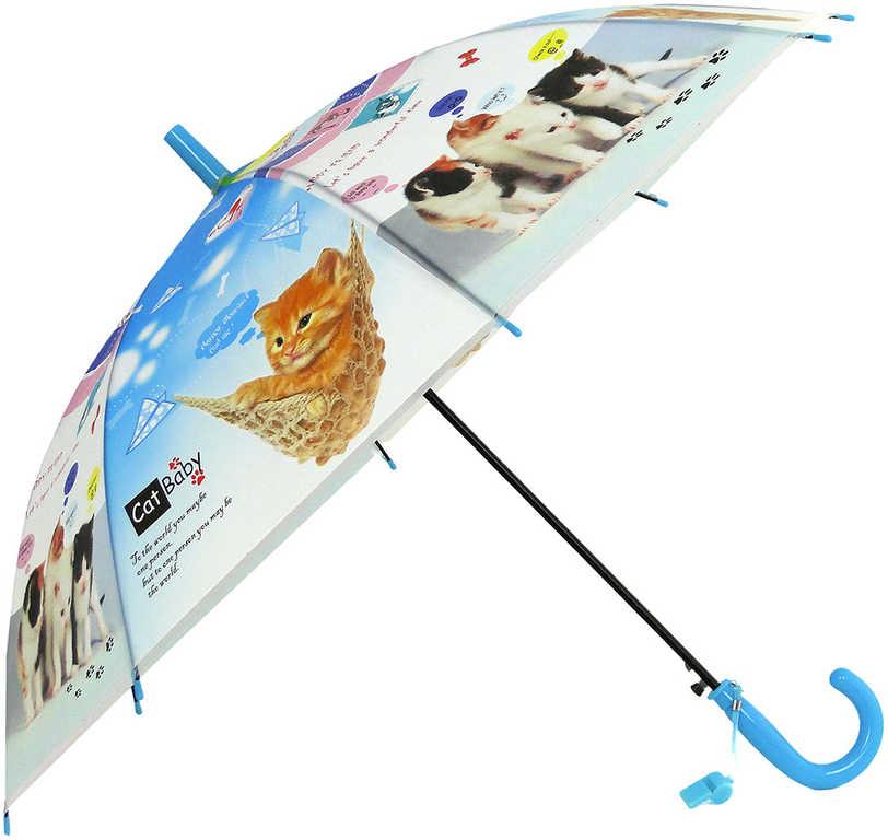 Deštník dětský vystřelovací kočičky s píšťalkou na rukojeti