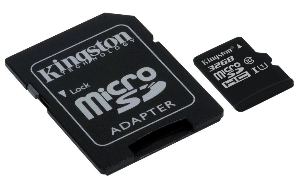 Paměťová karta Kingston microSDXC Class 10 64GB, UHS-I U1 45R/10W + adaptér