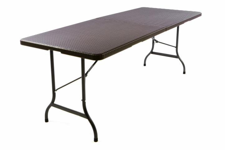 Skládací zahradní stůl v ratanovém designu - hnědý 180x75 cm