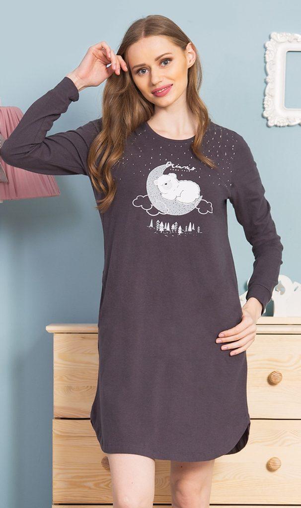 Dámská noční košile s dlouhým rukávem Méďa - tmavě šedá - S