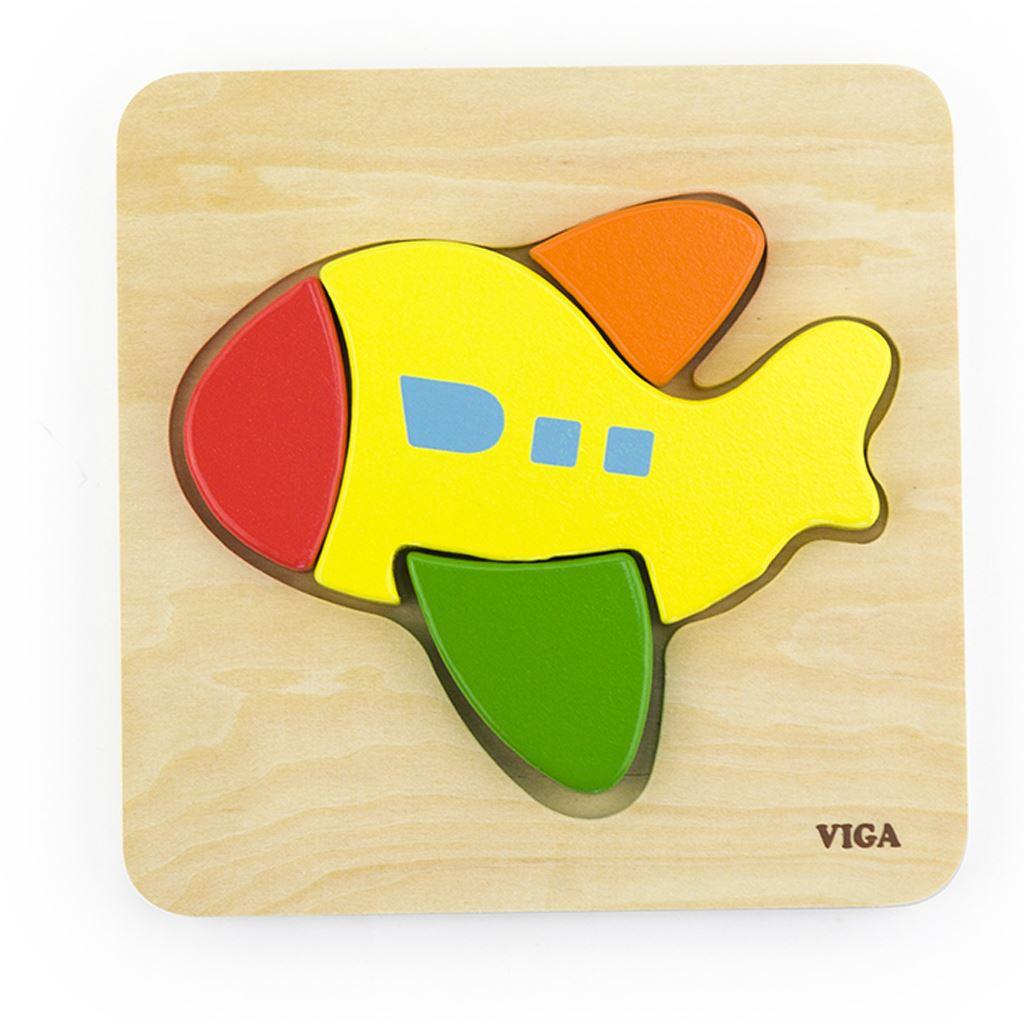 Dřevěné puzzle pro nejmenší Viga Letadlo - multicolor