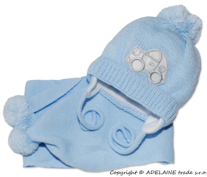 Zimní čepička s šálou - Autíčko sv. modré - 0/6 měsíců