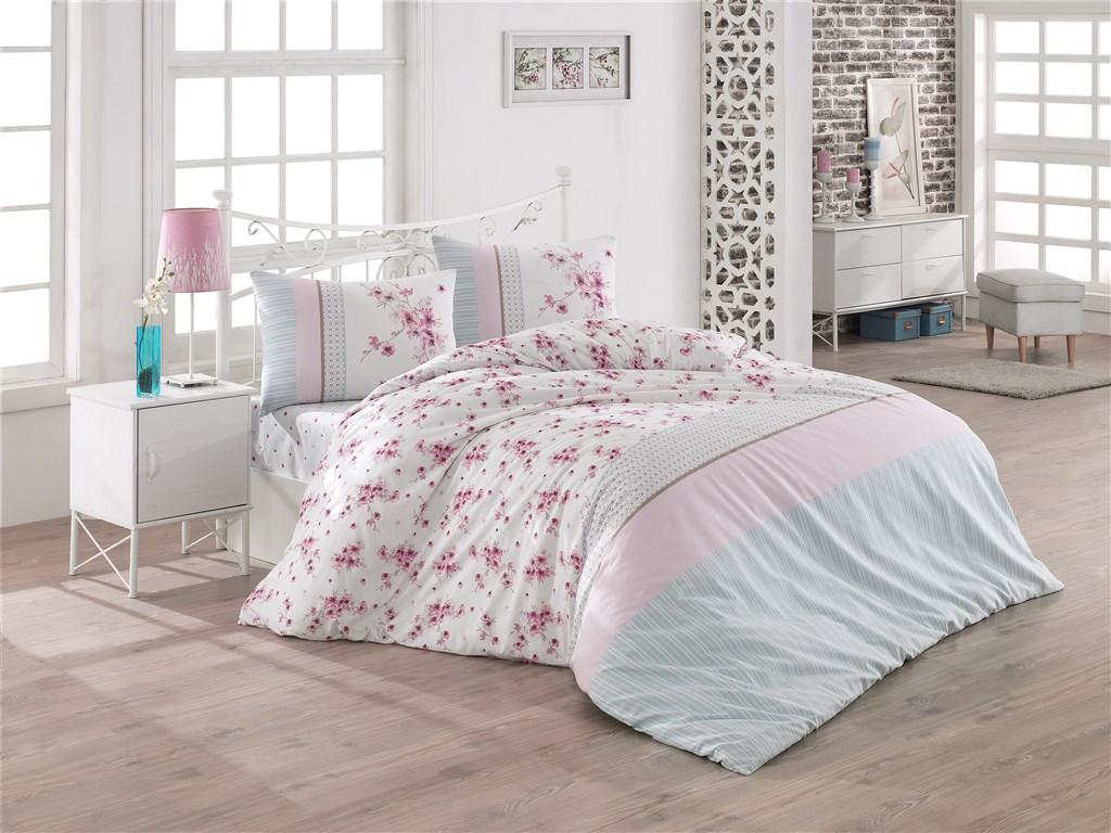 Povlečení francouzské bavlna 220x220, 70x90 Elin růžová, Výběr zapínání: