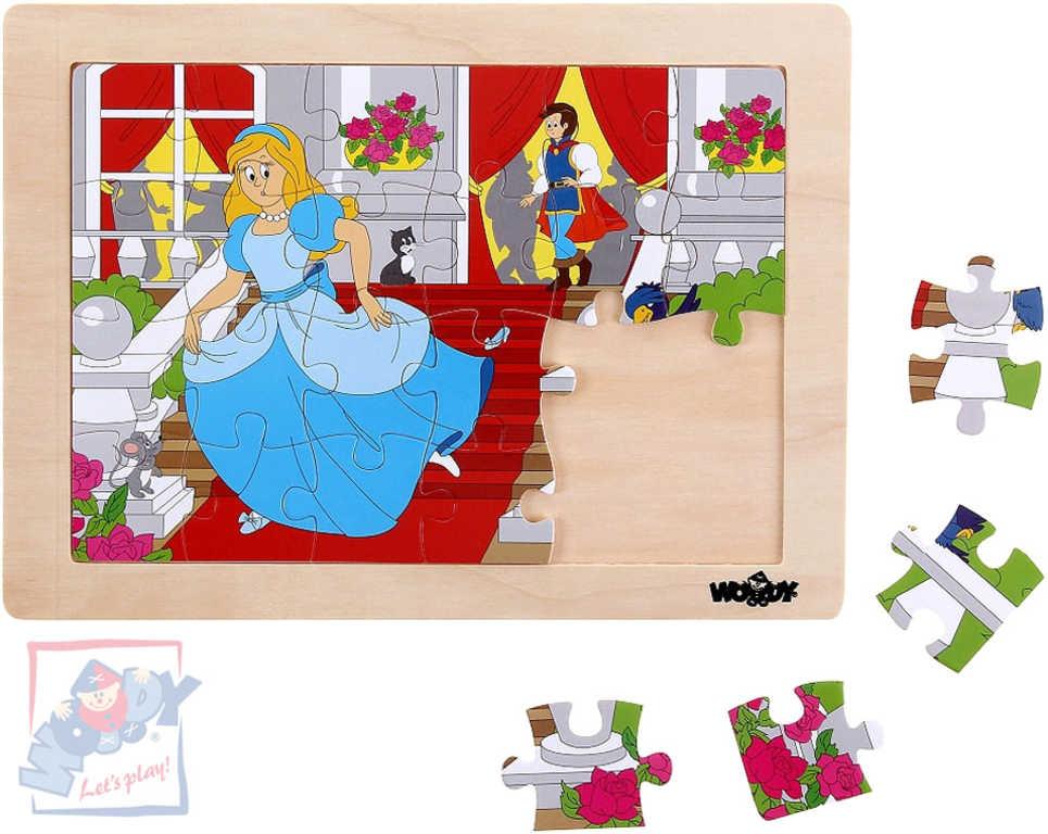 WOODY DŘEVO Puzzle v rámečku Popelka 24 dílků