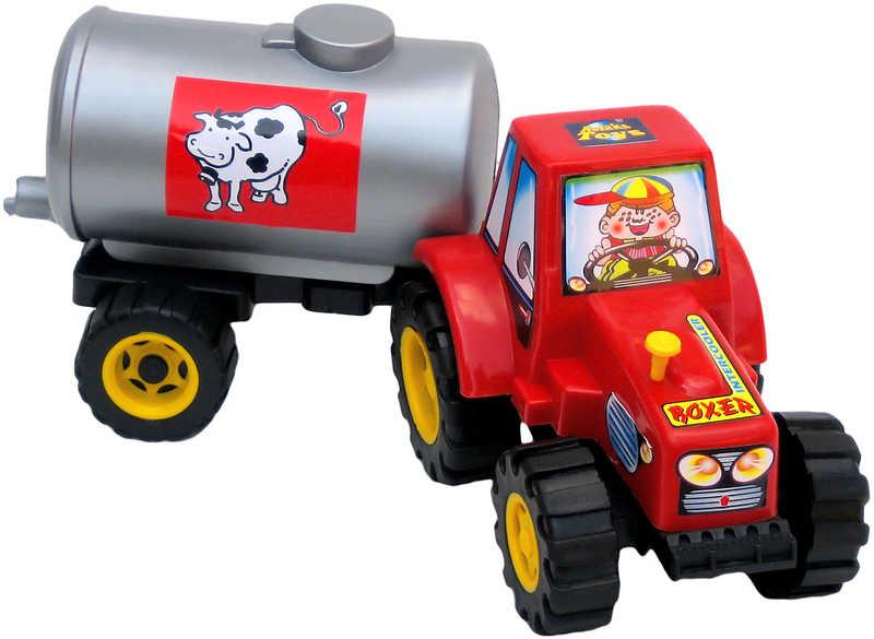 PL Traktor plastový s cisternou na mléko Kravička 3 barvy