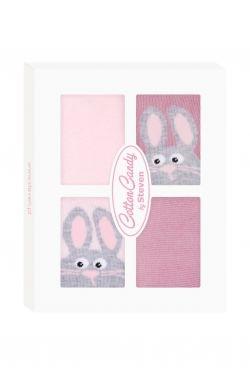 STEVEN Kojenecké ponožtičky CANDY BOX - Králiček růžový - 17-19 vel. ponožek