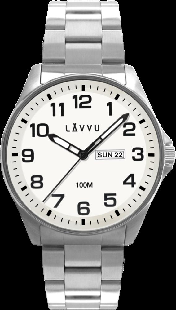 Ocelové pánské hodinky LAVVU BERGEN White se svítícím číselníkem