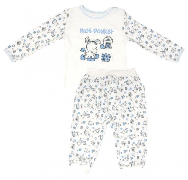 Bavlněné pyžamko Mamatti Oslík - 80 (9-12m)