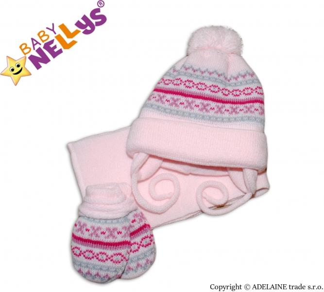 Sada - čepička, šál a rukavičky - vzorovaná růžová - 3/6měsíců