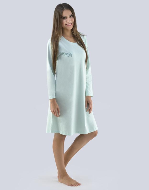 GINA dámské košilka noční dámská dlouhý rukáv, šité, s potiskem Pyžama 2019 19095P - aqua tyrkysová