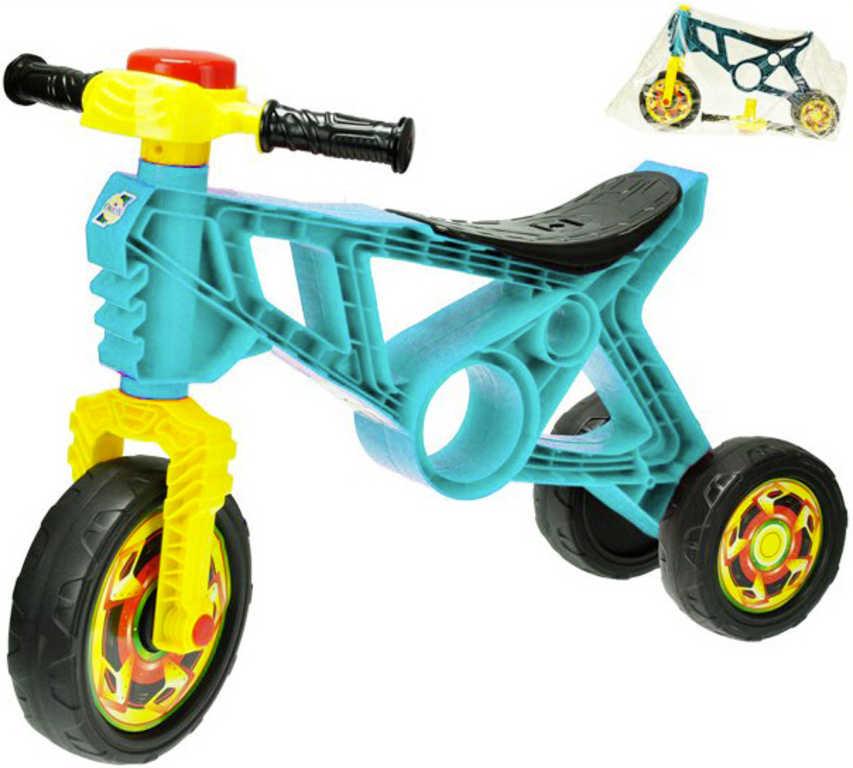 Motorka dětské odrážedlo tyrkysové 60x43x19cm s klaksonem plast