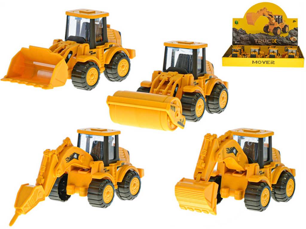 Auto žluté stavební 13cm pracovní stroj na setrvačník 4 druhy plast