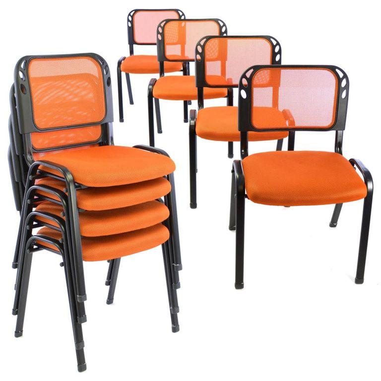 Sada stohovatelných židlí, polstrovaný sedák - 8 ks