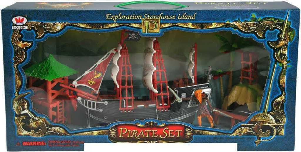 Loď pirátská 26cm plastový set s doplňky v krabici