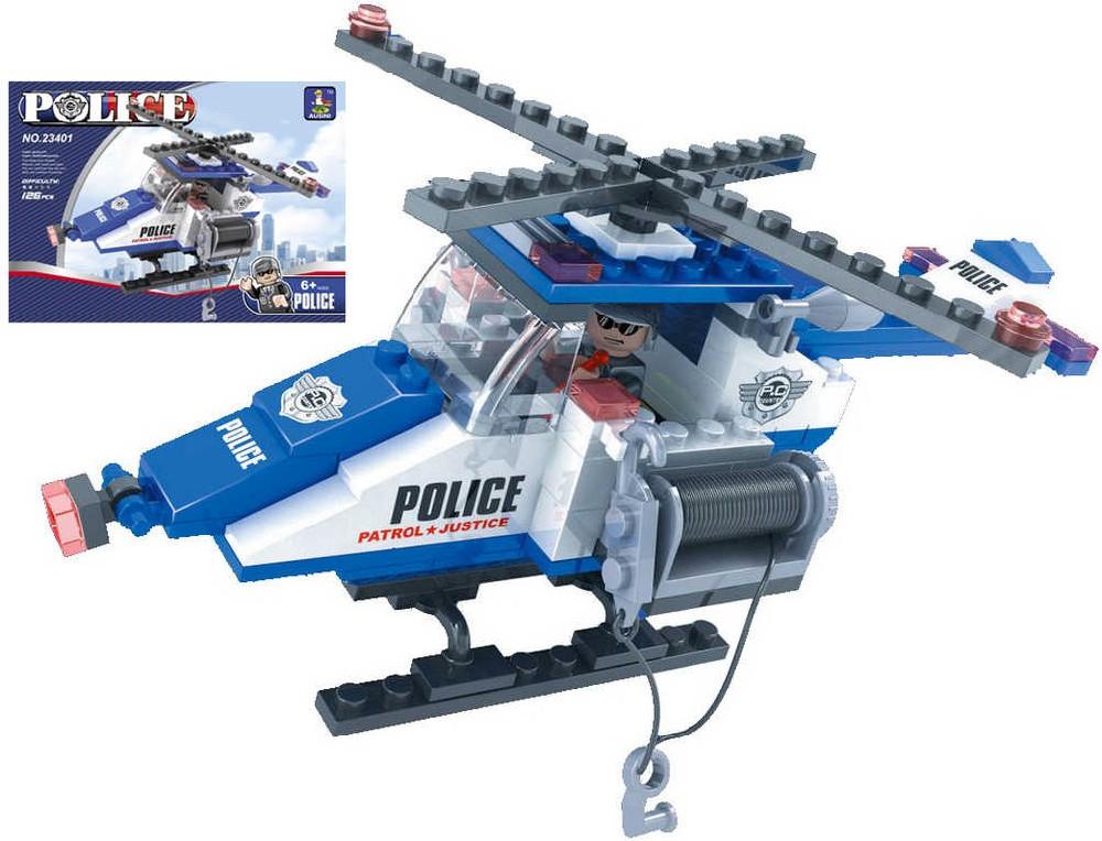 AUSINI Stavebnice POLICEJNÍ vrtulník 126 dílků + 1 figurka plast