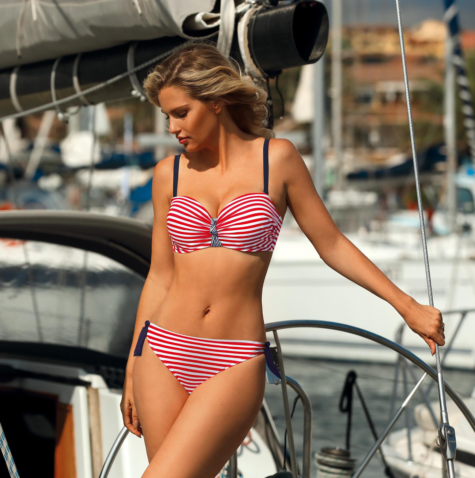 Dvoudílné dámské plavky Self S 730 M8 - Červeno-bílá/42F-XL