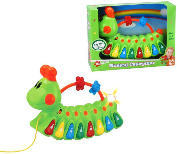 Housenka hrající melodie veselé pianko S držátkem jezdící PLAST