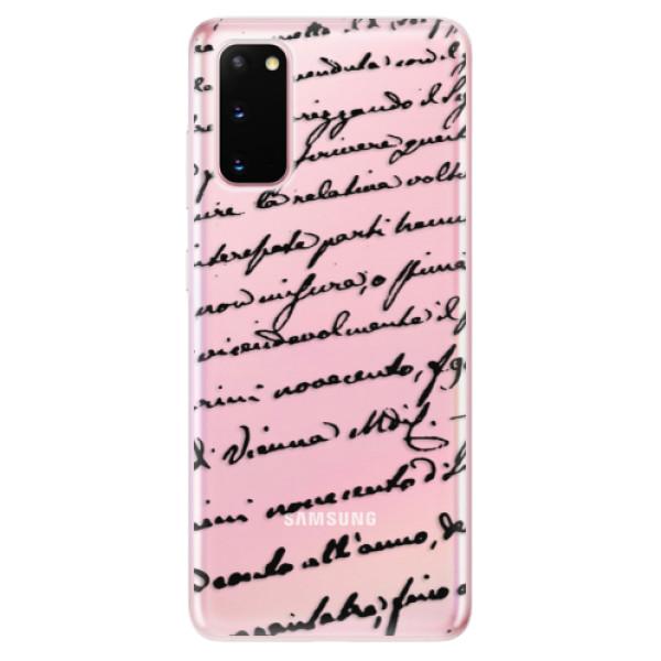 Odolné silikonové pouzdro iSaprio - Handwriting 01 - black - Samsung Galaxy S20