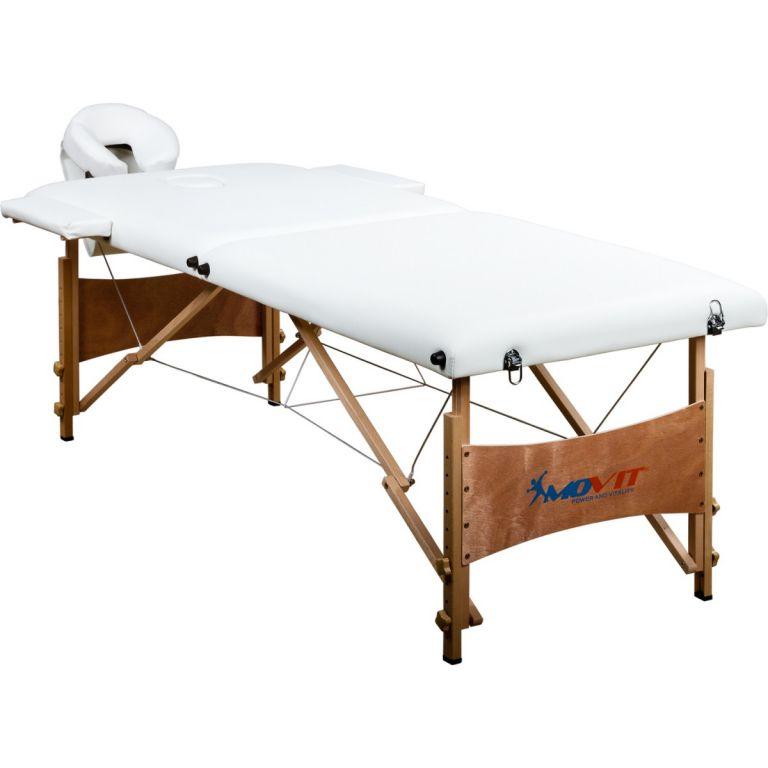 Přenosné masírovací lehátko bílé MOVIT 184 x 70 cm