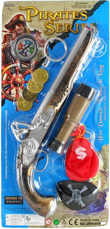 Soupava pirátská bambitka s dalekohledem a doplňky na kartě plast