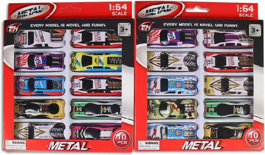Auto kovové sportovní 7 cm závodnička 1:64 volný chod set 10 ks v boxu - 2 druhy