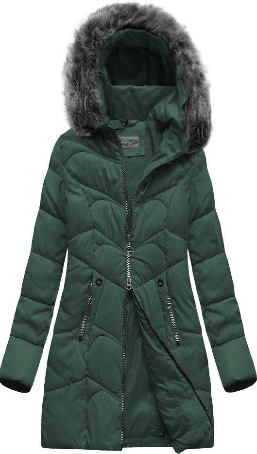 Tmavě zelená prošívaná bunda s kapucí (B2643)
