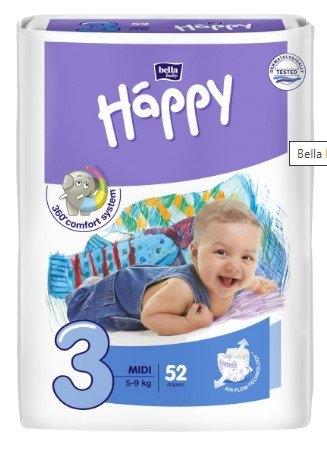 Happy Midi (3), dětské pleny jednorázové od 5 do 9 kg, 52 ks