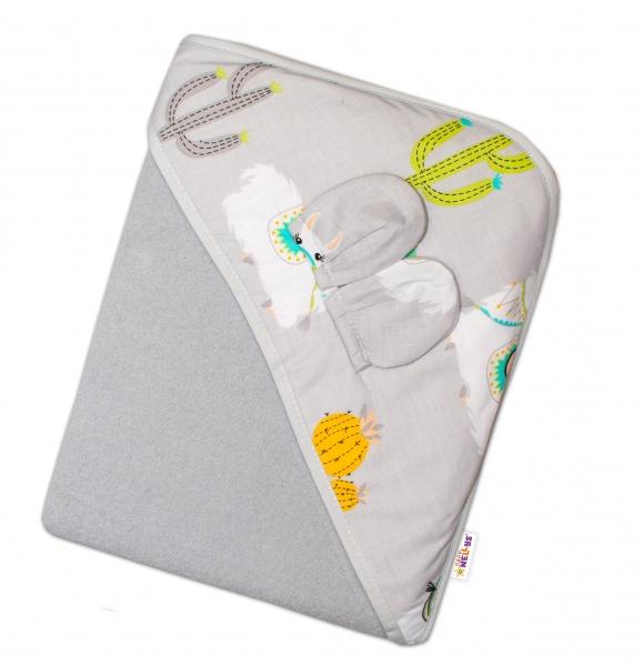 baby-nellys-detska-termoosuska-s-ousky-a-kapuci-lama-100-x-100-cm-seda