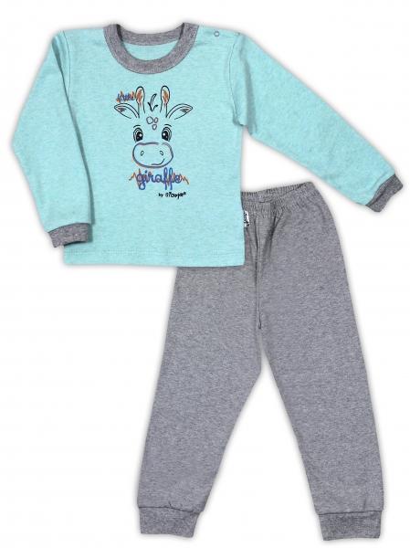 Bavlněné pyžamko NICOL ŽIRAFKA - mátová/šedá melír - 80 (9-12m)