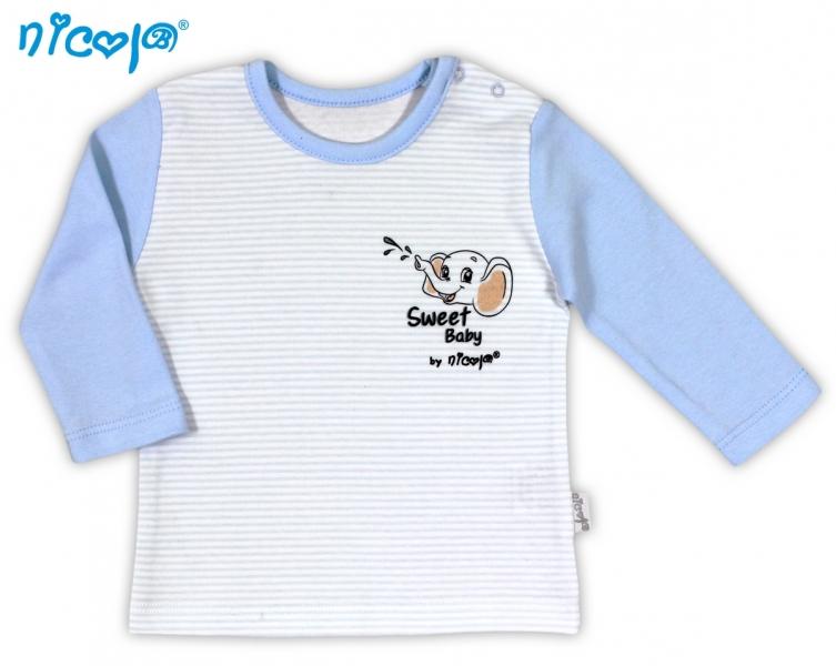 Kojenecké bavlněné tričko NICOL VESELÝ SLONÍK - dlouhý rukáv - 56 (1-2m)