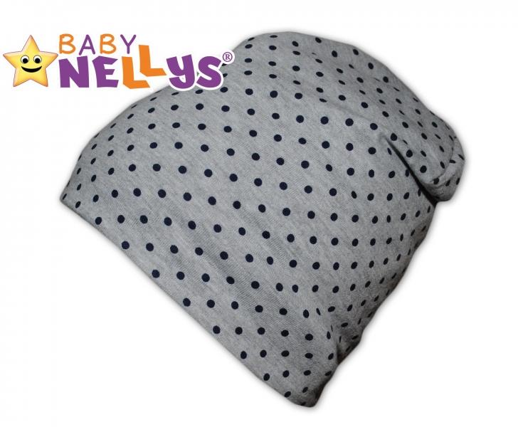 Bavlněná čepička s granátovými puntíky Baby Nellys ® - šedá - 50/52 čepičky obvod