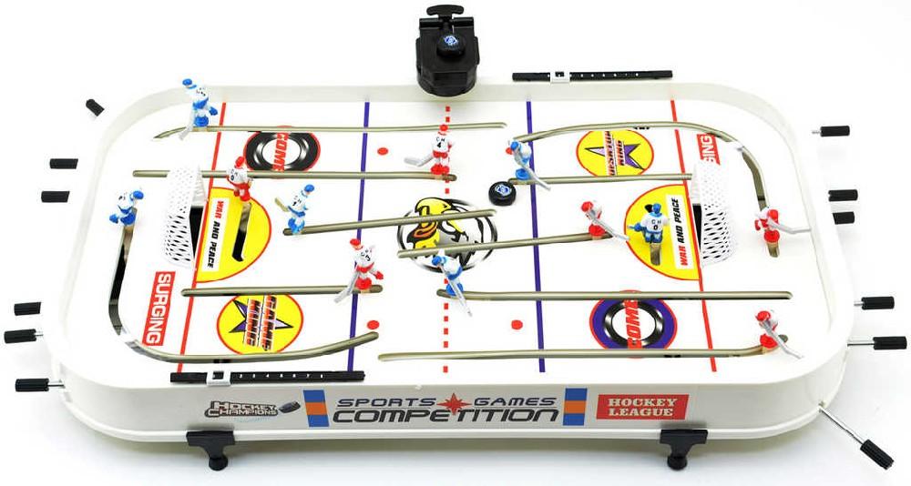 Hra Hokej plastová v krabici kovová táhla na baterie