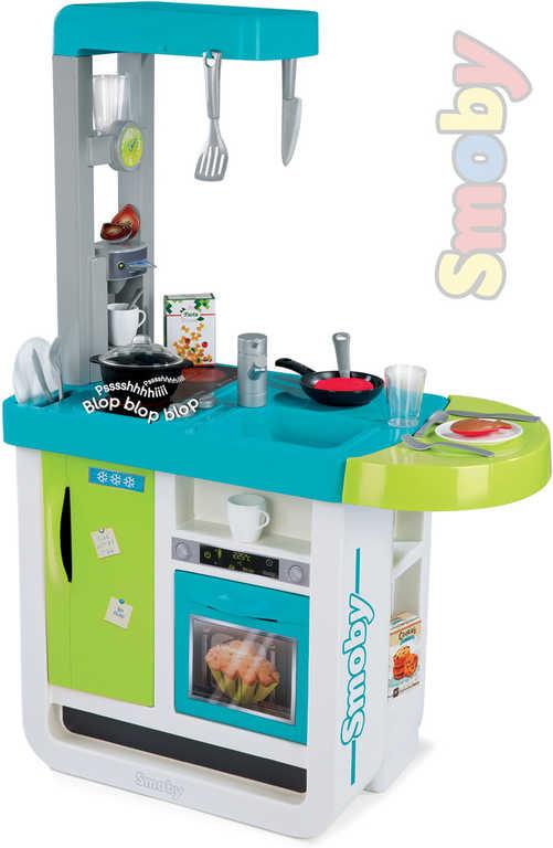 SMOBY Kuchyňka dětská Bon Appetit modro-zelená set s nádobím a potravinami Zvuk