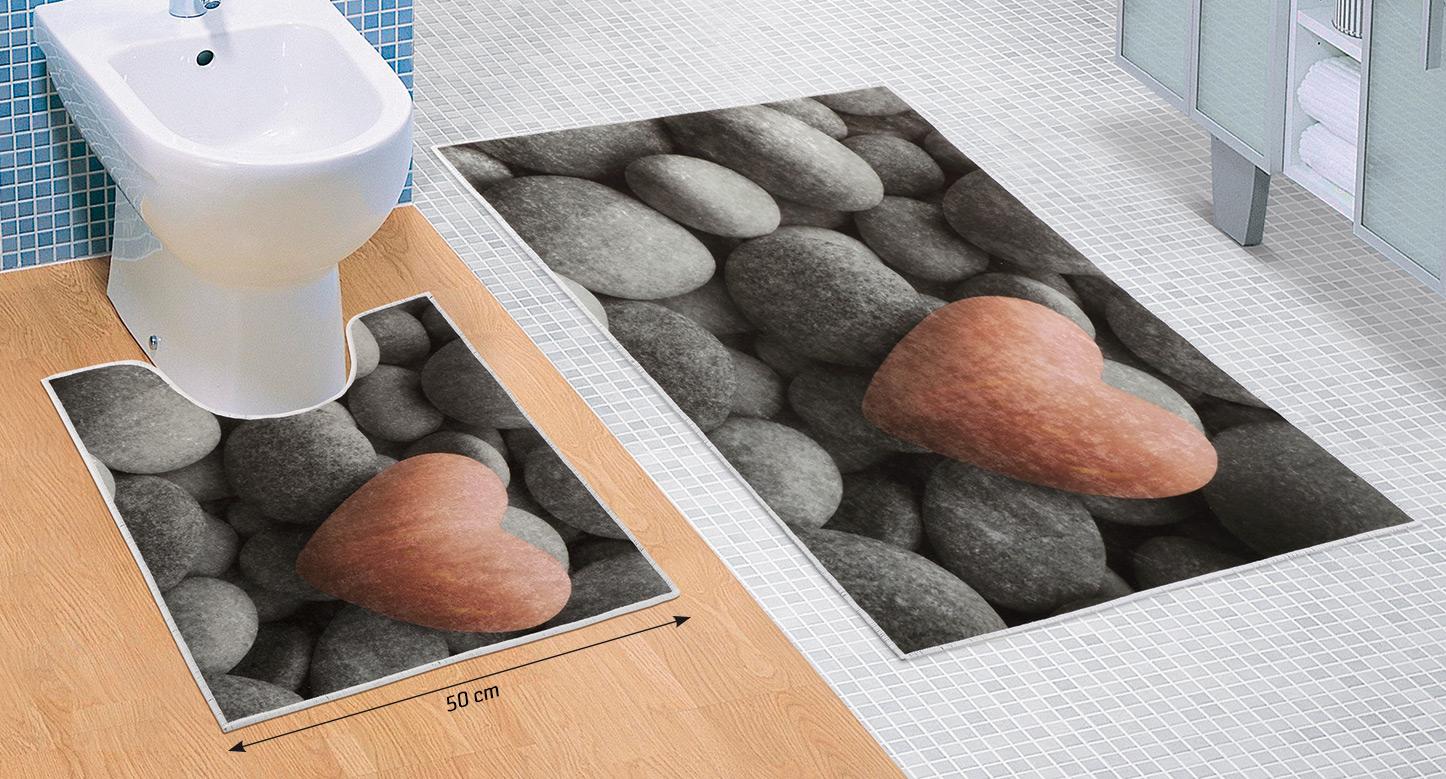 Koupelnová sada předložek 3D 60x100+60x50cm Tmavé kameny