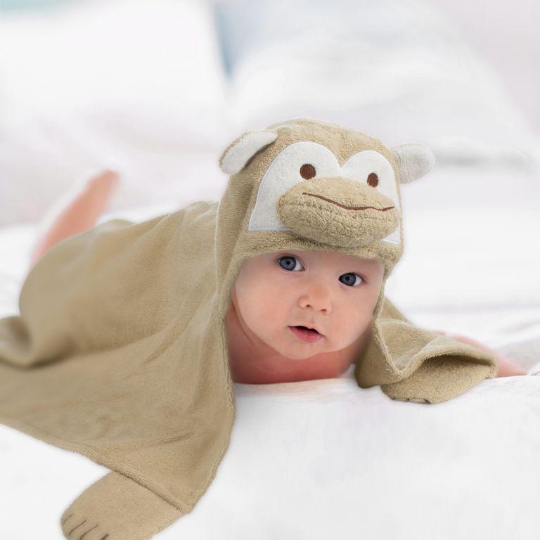 Dětská osuška s kapucí 76 x 76 cm - opice