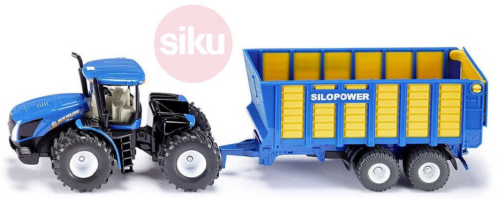 SIKU Traktor modrý New Holland set s přívěsem Joskin 1:50 model kov 1947
