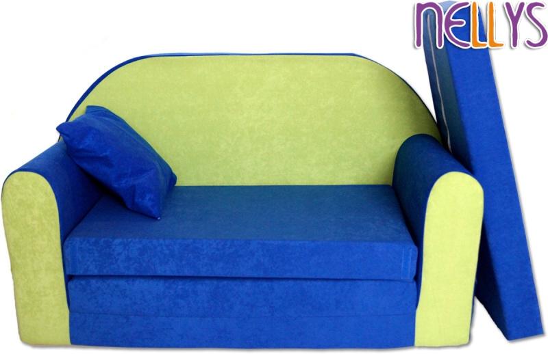 Baby Nellys Rozkládací dětská pohovka 01R- modrá/zelená