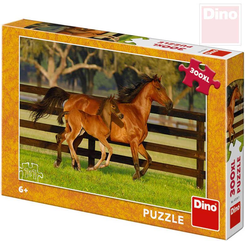 DINO Puzzle XL 300 dílků Klisna a hříbátko foto 47x33cm skládačka v krabici