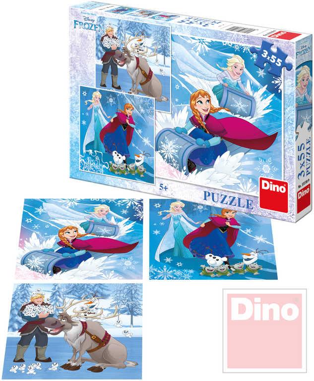 DINO Puzzle set 3x 55 dílků v krabici Frozen (Ledové Království) 3v1
