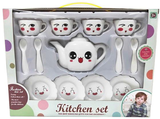 Souprava bílá čajová dětské nádobí 13ks s obličejem plast