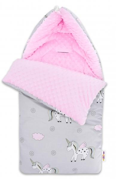 Bavlněný fusak Baby Nellys, minky, Jednorožec, 45 x 95 cm - šedý/minky růžová
