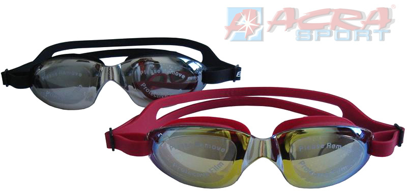 ACRA Závodní plavecké brýle FLAME silikon zrcadlovka 2 barvy