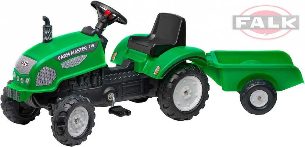 FALK Traktor šlapací Farm Master 7201 s valníkem zelený plast