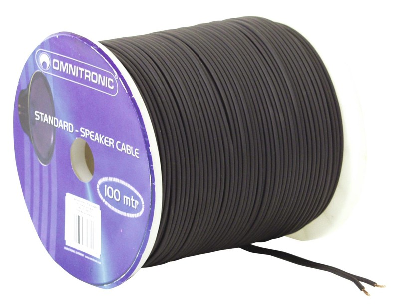 Kabel reproduktorový, 2x 1,5qmm, plochý černý, cena / m
